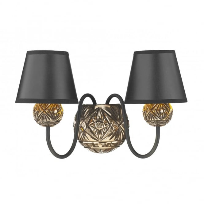 The David Hunt Lighting Collection NOVELLA faceted bronze double wall light