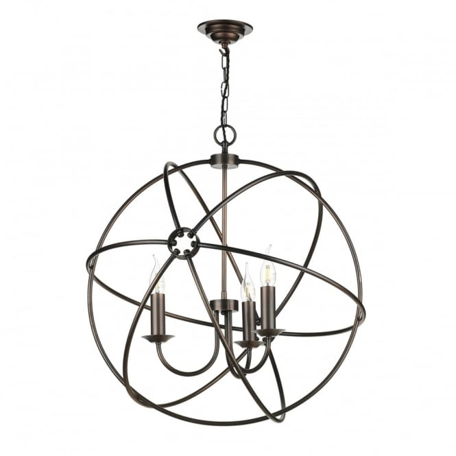 The David Hunt Lighting Collection ORB 3 light gyroscope pendant light in antique copper finish