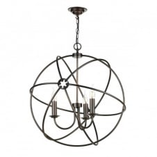ORB 3 light gyroscope pendant light in antique copper finish