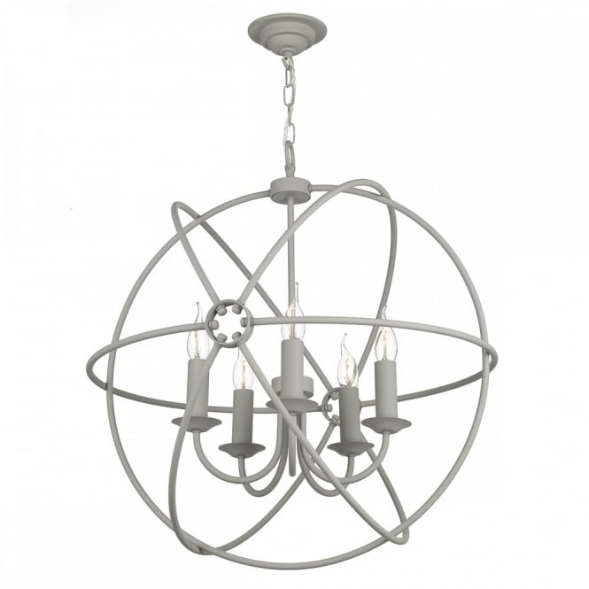 The David Hunt Lighting Collection ORB 5lt rustic gyroscope ceiling pendant in an ash grey finish