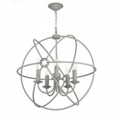 ORB 5lt rustic gyroscope ceiling pendant in an ash grey finish