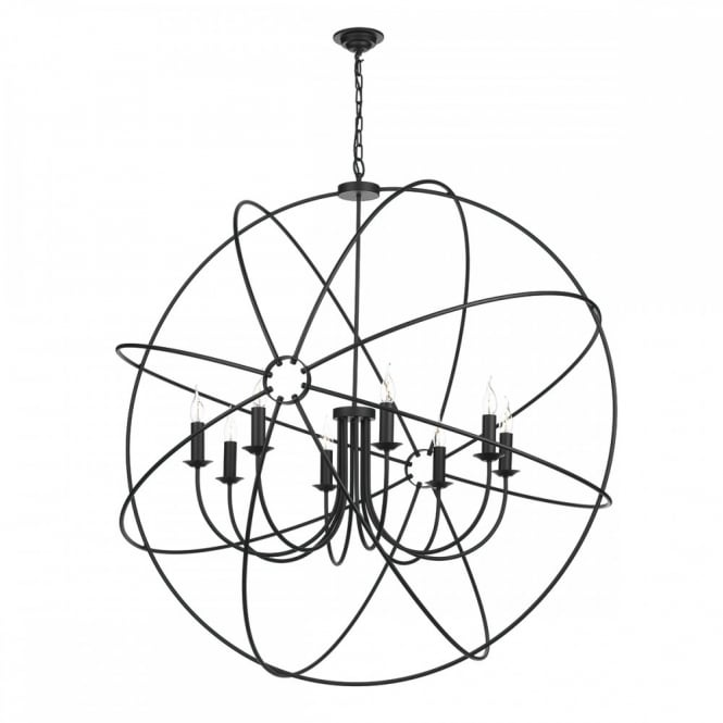 The David Hunt Lighting Collection ORB 8lt rustic gyroscope ceiling pendant in a black finish