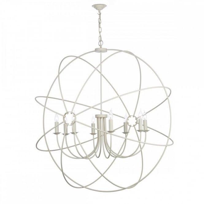 The David Hunt Lighting Collection ORB 8lt rustic gyroscope ceiling pendant in a cream finish