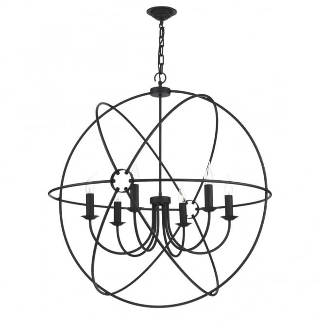 The David Hunt Lighting Collection ORB circular black gyroscope pendant light