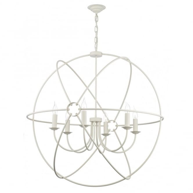 large cream circular gyroscopic cream ceiling pendant with a long drop