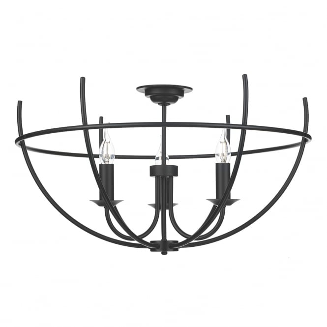 The David Hunt Lighting Collection ORB period style 3 light semi flush ceiling light in black