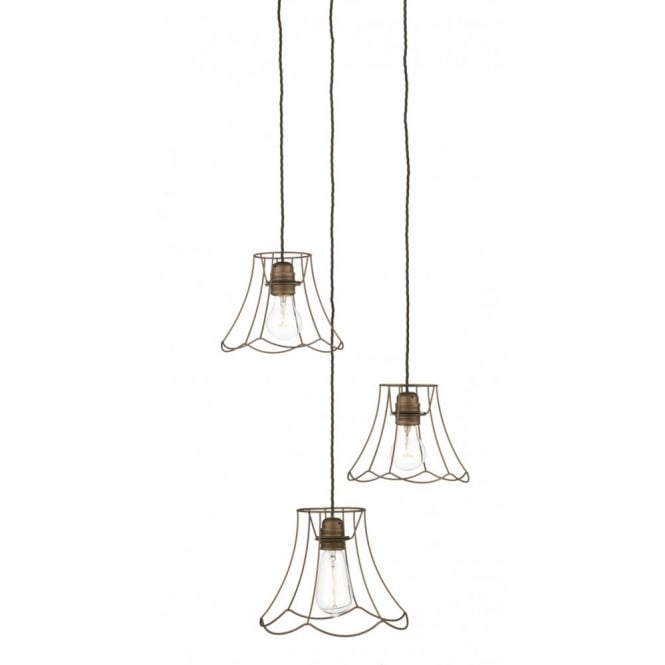The David Hunt Lighting Collection OREGON 3 light rustic ceiling cluster pendant in bronze