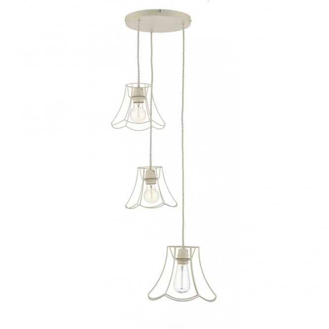 The David Hunt Lighting Collection OREGON 3 light rustic ceiling cluster pendant in cream