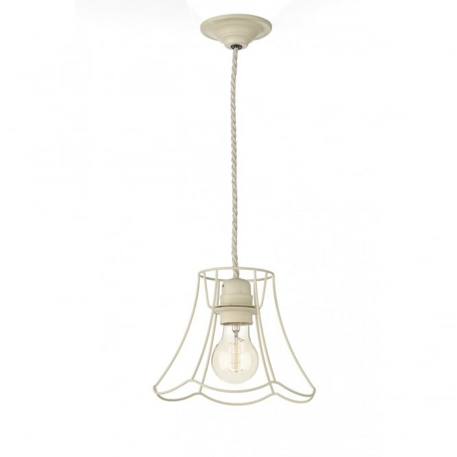The David Hunt Lighting Collection OREGON decorative small rustic ceiling pendant in cream