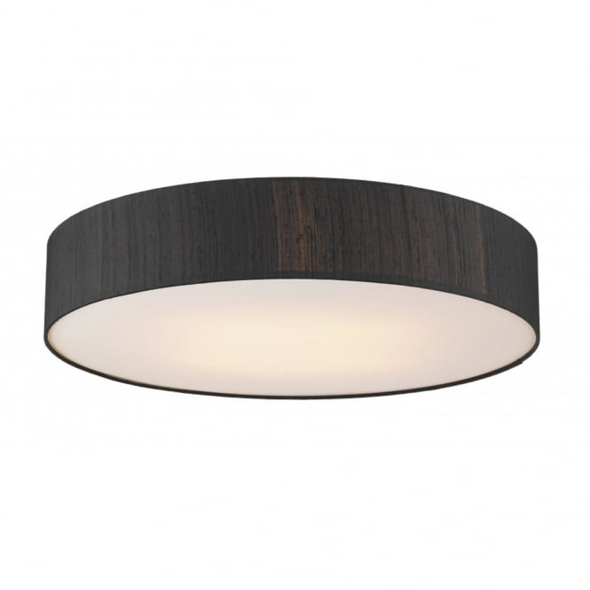 Contemporary low ceiling light round low energy silk fitting paolo silk flush ceiling light large black aloadofball Gallery