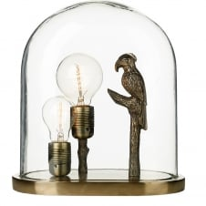 bronze parrot table lamp with clear glass dome