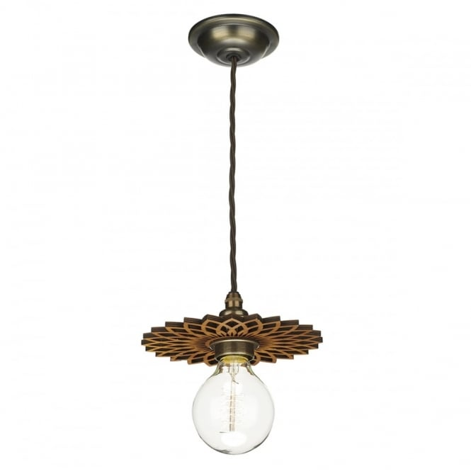 The David Hunt Lighting Collection PEGASUS decorative wooden pendant disc shade (small)