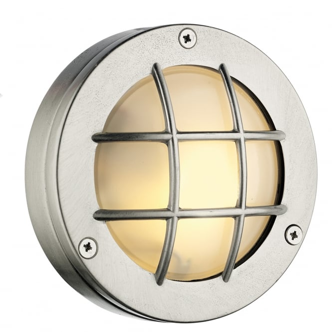 PEMBROKE round outdoor bulkhead light in nickel finish