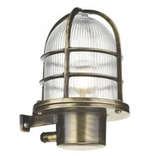 coastal style outdoor wall light in antique brass