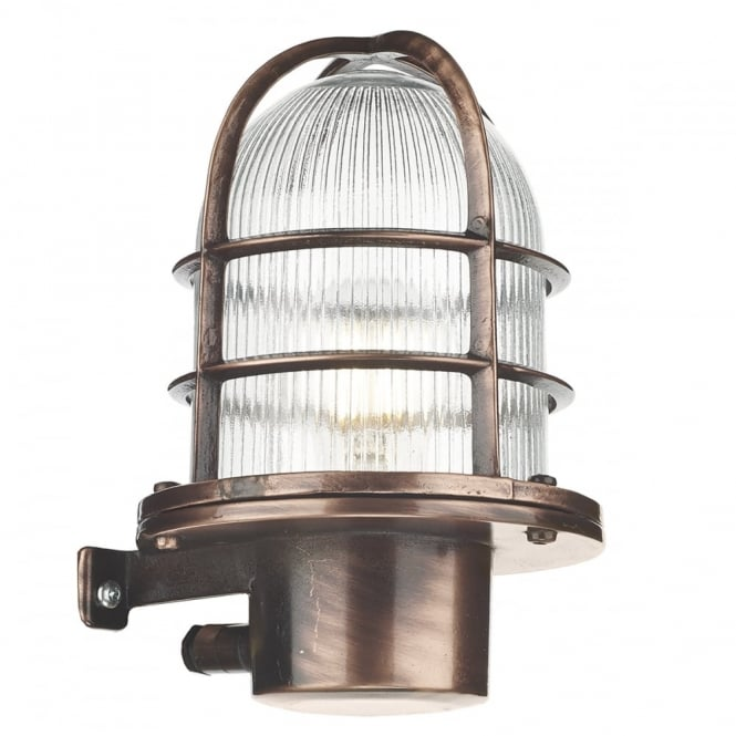 PIER coastal style caged exterior wall light in antique copper