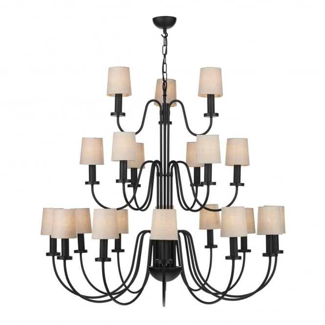 The David Hunt Lighting Collection PIGALLE 21 light chandelier in a black finish with linen shades