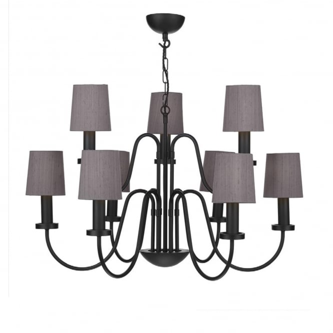 The David Hunt Lighting Collection PIGALLE 9 light black chandelier with charcoal silk shades