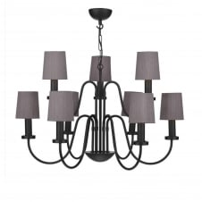 PIGALLE 9 light black chandelier with charcoal silk shades