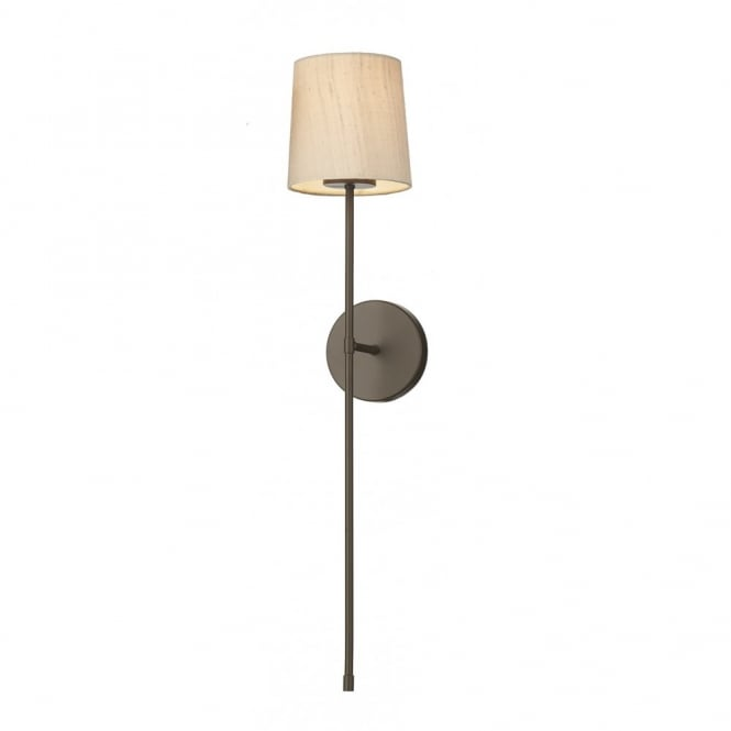 PIGALLE torchiere style wall sconce with taupe silk shade