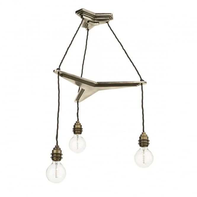 Vintage 3 Light Ceiling Pendant Suspension In Bronze Finish