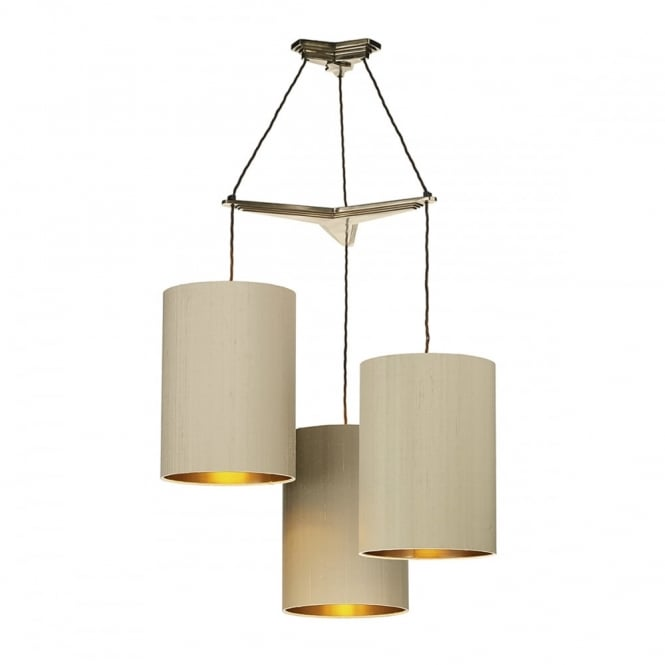 The David Hunt Lighting Collection PROPELLOR vintage style 3 light pendant suspension in bronze with shades