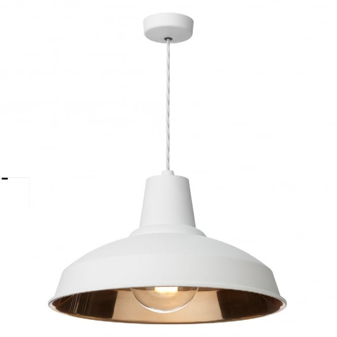The David Hunt Lighting Collection RECLAMATION ceiling pendant in matte white with copper inner