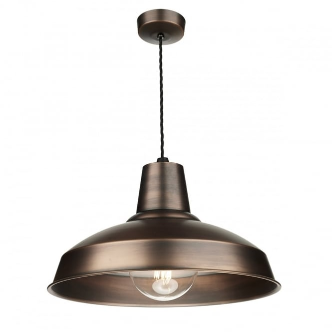 The David Hunt Lighting Collection RECLAMATION industrial style antique copper ceiling pendant
