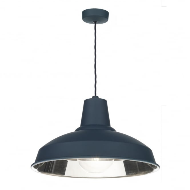 The David Hunt Lighting Collection RECLAMATION retro ceiling pendant in smoke blue with chrome inner