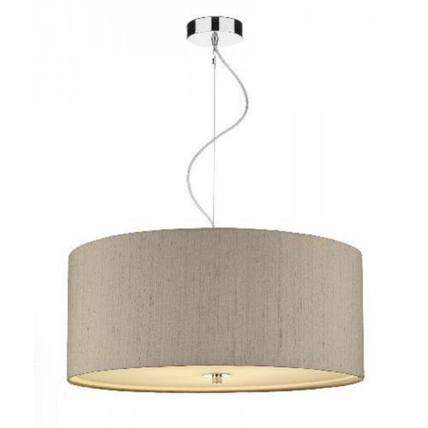 Large Drum Shaped Ceiling Pendant With Taupe Silk Shade
