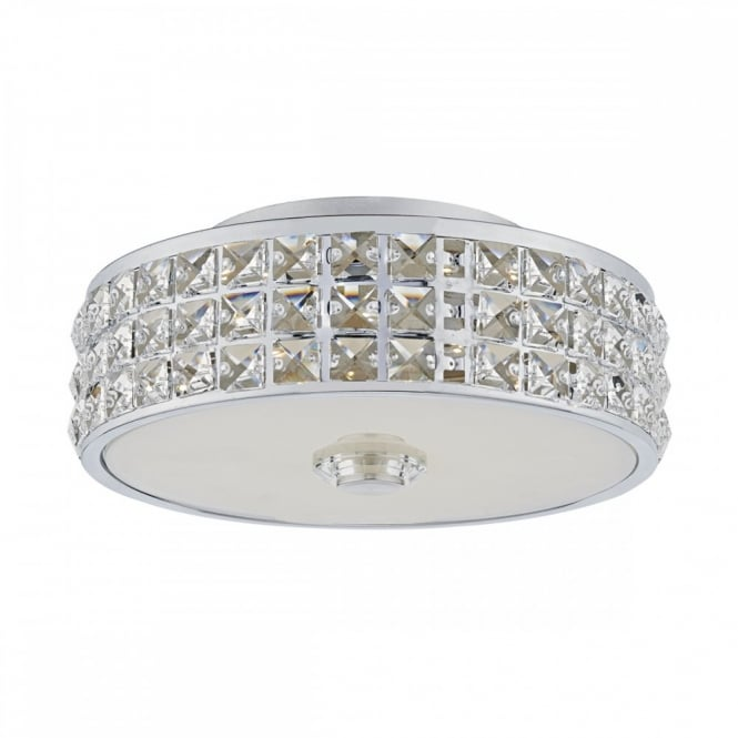 The David Hunt Lighting Collection REPTON decorative polished chrome and crystal glass LED flush fit ceiling light