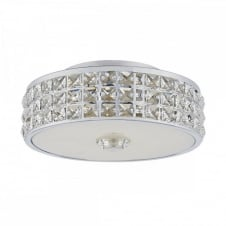 REPTON decorative polished chrome and crystal glass LED flush fit ceiling light