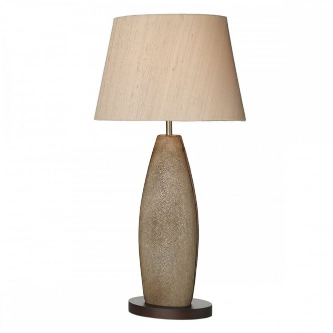REX table lamp coffee textured base complete with taupe silk shade.