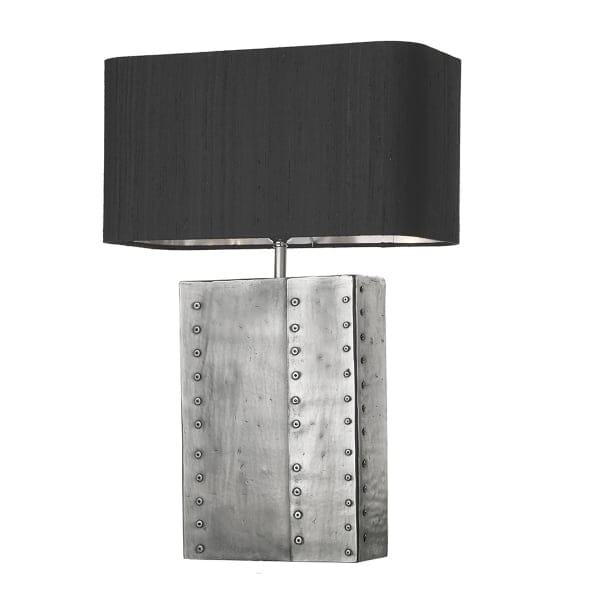Industrial style pewter table lamp with black and silver shade for Black and silver lamps