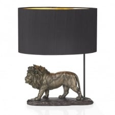 ROYAL bronze lion table lamp with black silk shade