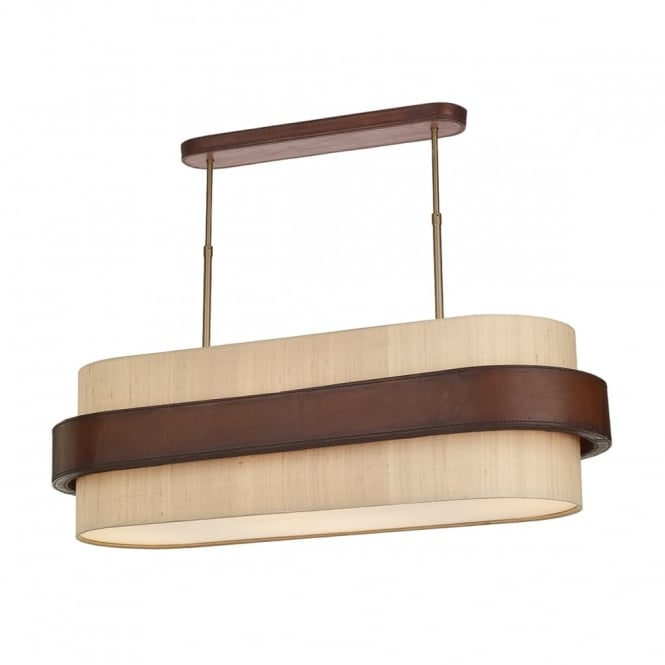 The David Hunt Lighting Collection SADDLER 4 light oval pendant with taupe shade and leather effect surround