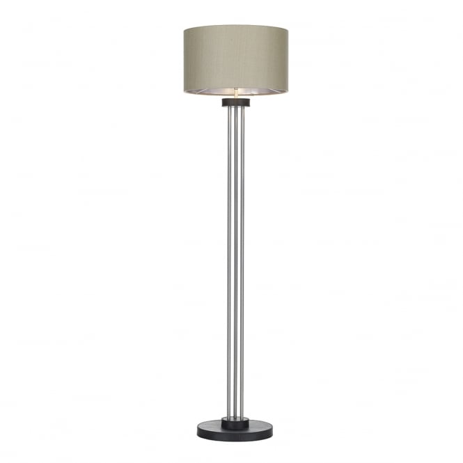 SADDLER black leather effect and brushed steel floor lamp with linen grey shade