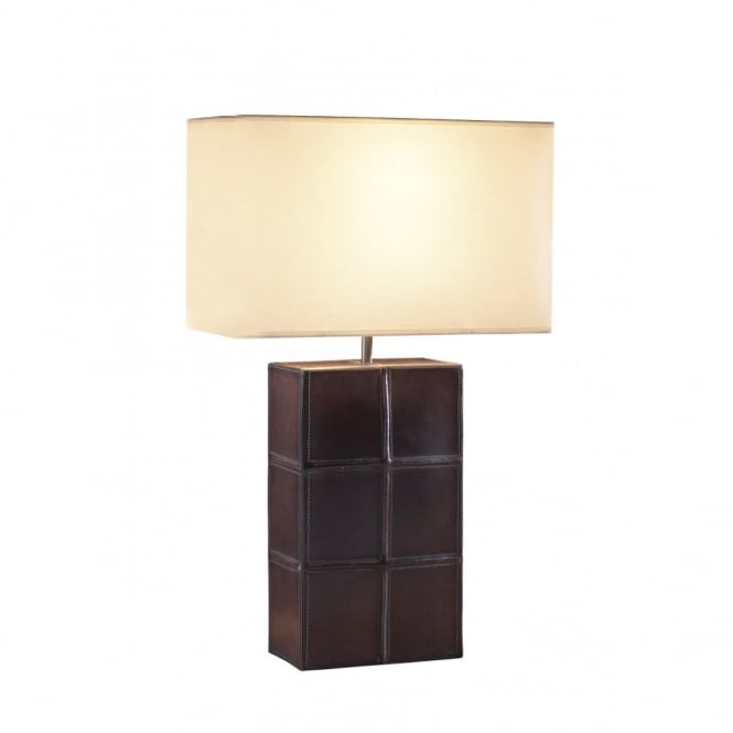 Saddler Brown Leather Effect Table Lamp with Shade
