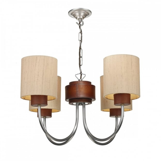 The David Hunt Lighting Collection SADDLER ceiling light faux leather detail complete with taupe fabric shades.