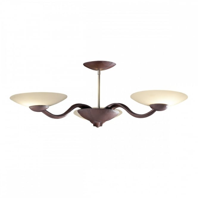 The David Hunt Lighting Collection SADDLER leather low ceiling light