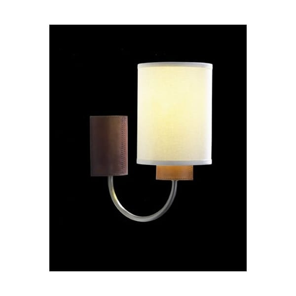 Wall Lights Low Energy : Saddler Low Energy Pewter and Leather Effect Wall Light with Natural Weave Shade.
