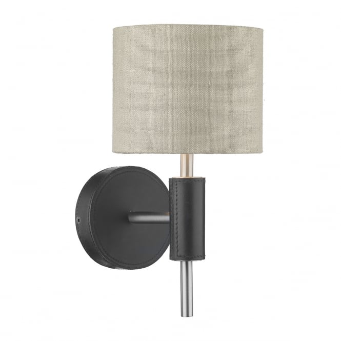 The David Hunt Lighting Collection SADDLER single wall light with black leather effect and grey linen shade
