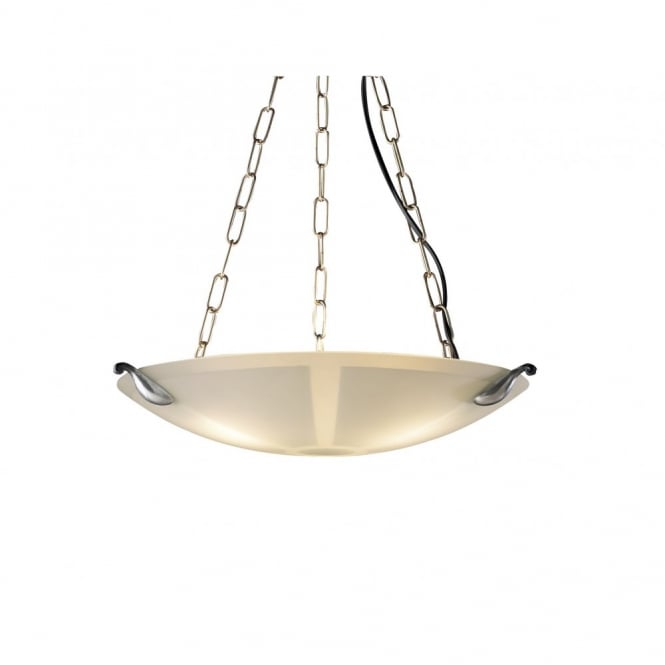The David Hunt Lighting Collection SAVOY pewter & glass ceiling pendant