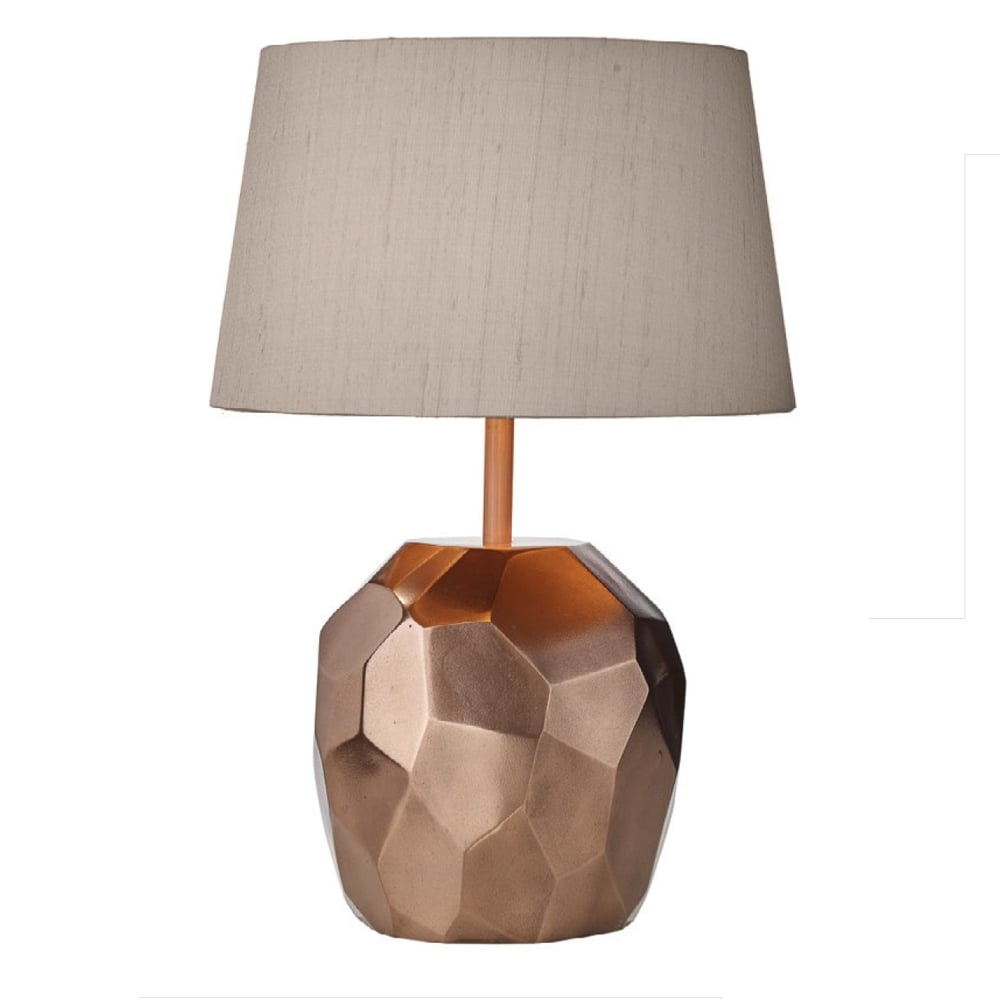Cut Shard Shaped Copper Table Lamp With Taupe Silk Shade