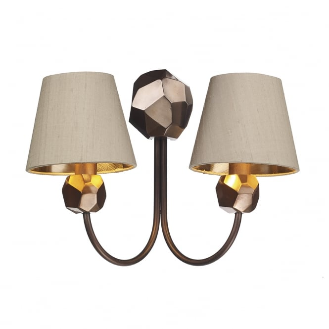 The David Hunt Lighting Collection SHARD decorative double wall light in copper with taupe silk shades