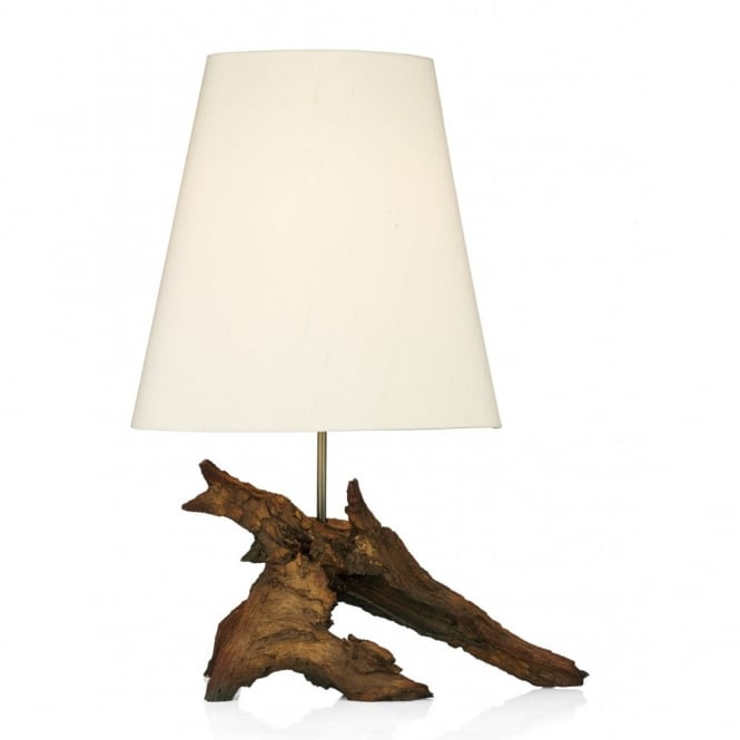 SHERWOOD natural wood effect table lamp with silk shade