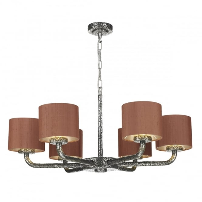 The David Hunt Lighting Collection SLOANE 6 light pewter ceiling pendant with silk shades (dual mount)