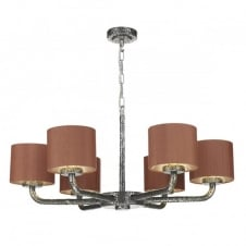 SLOANE 6 light pewter ceiling pendant with silk shades (dual mount)