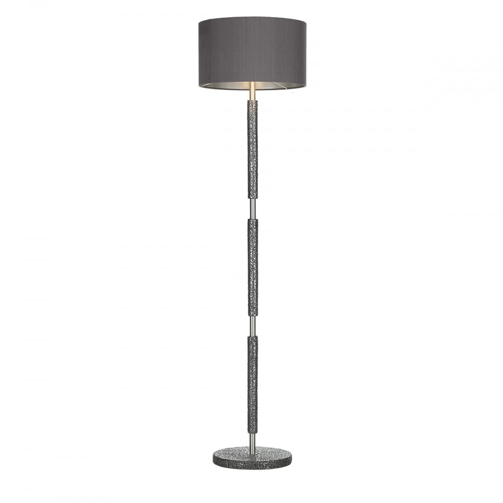 Hammered Pewter Floor Lamp with Charcoal Silk Shade - British Made
