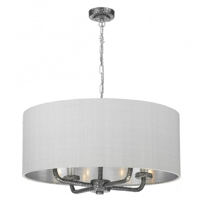 The David Hunt Lighting Collection SLOANE pewter textured ceiling pendant with silk shade
