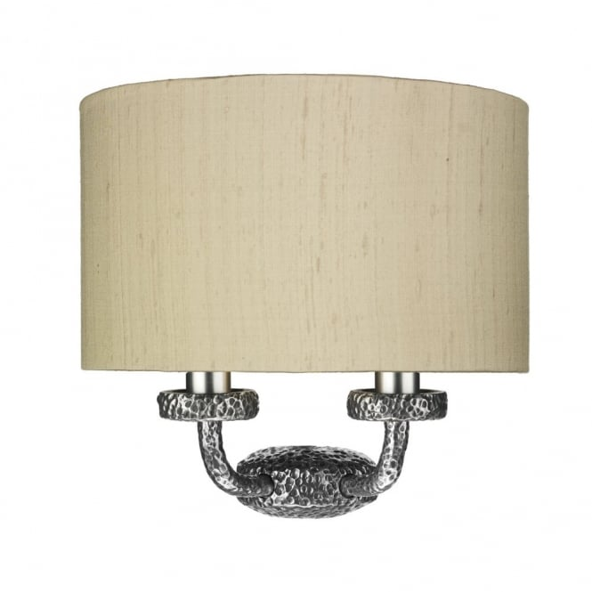 The David Hunt Lighting Collection SLOANE pewter textured wall light with silk shade